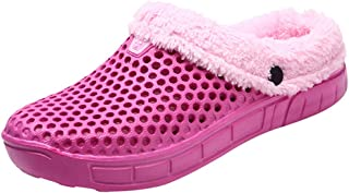 NUWFOR Couple Women Winter Home Slippers Keep Warm Non-slip Indoors Bedroom Floor Shoes?Hot Pink,7.5-8.5 M US?