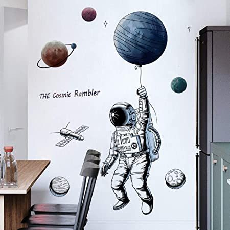 Esmee Astronaut Wall Mural Decals Wall Stickers Wall Decor for Bedroom Wall Stickers for Children's Room Cosmonaut Removable Stickers for Walls Decoration as Birthday