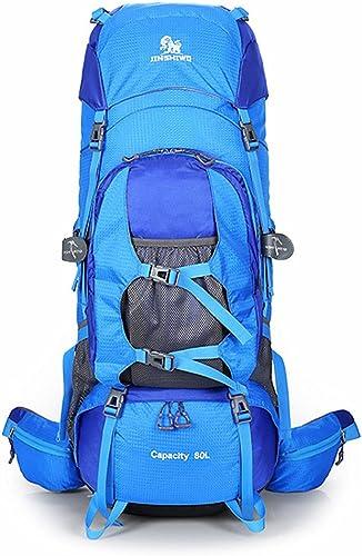 Sac à dos d'alpinisme Sac à dos ajustable en nylon imperméable en nylon de transport de dos à dos en marchant campant extérieur multifonctionnel de capacité élevée approprié aux sports en plein air