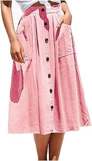 A-line Midi Skirt for Women Casual High Waist Skirt with Pockets