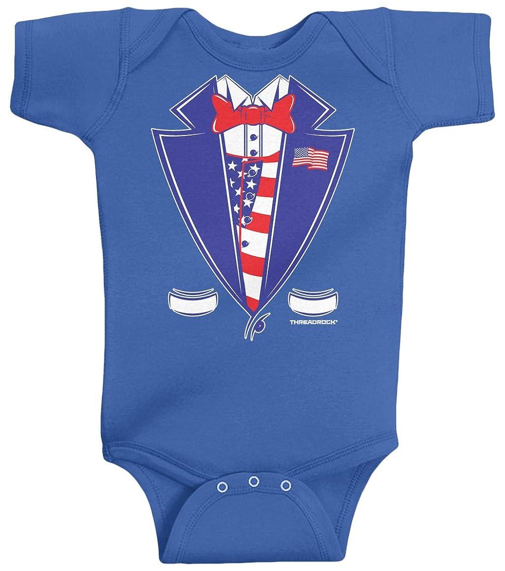 Threadrock Unisex Baby USA Patriotic Tuxedo Bodysuit