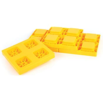 Amazon Com Camco Heavy Duty Leveling Blocks Ideal For Leveling Single And Dual Wheels Hydraulic Jacks Tongue Jacks And Tandem Axles 4 Pack Yellow 44501 Automotive