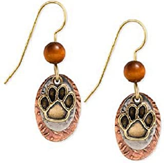 of Vermont Paw Print and Tiger's Eye Dangle Earrings