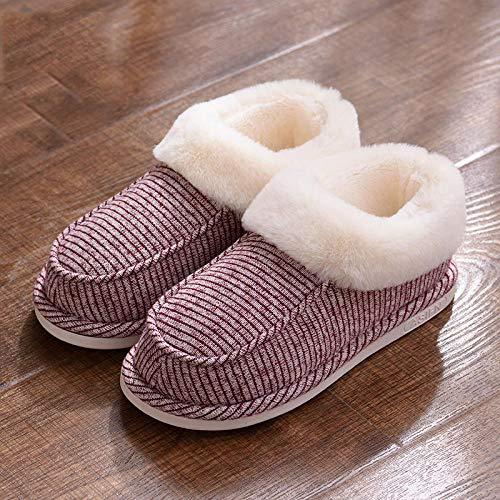 B/H Zapatillas de Invierno Interior Pantuflas,Pantuflas de algodón a Rayas, tacón de Bolso, Mueble de Suela Gruesa, Antideslizante-Burdeos_38-39