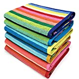 Kaufman - Cabana Stripe Beach Towel Blue and White, 6-Pack, 32in x 62in, 100% Ringspun USA Cotton, Large Pool Towels Plush and Absorbent Terry Beach Towel.