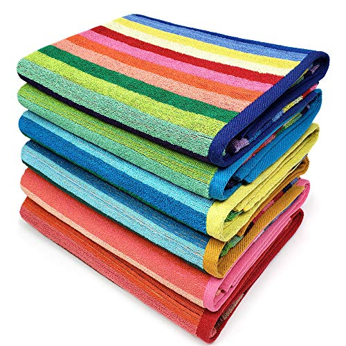 Kaufman - Cabana Stripe Beach Towel Blue and White, 6-Pack, 32in x 62in, 100% Ringspun USA Cotton, Large Pool Towels Plush and Absorbent Terry Beach...