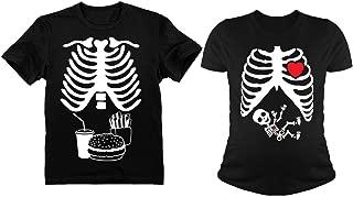 Halloween Skeleton Maternity Tee Baby Boy X-Ray Matching Couple Set Burger Tee