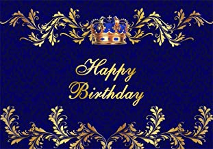 AOFOTO 10x7ft Happy Birthday Backdrop King Queen Crown Royal Blue Patterns Abstract Photography Background Boy Man 16th 18th 30th 40th 45th 50th Bday Party Celebration Photo Booth Prop Vinyl