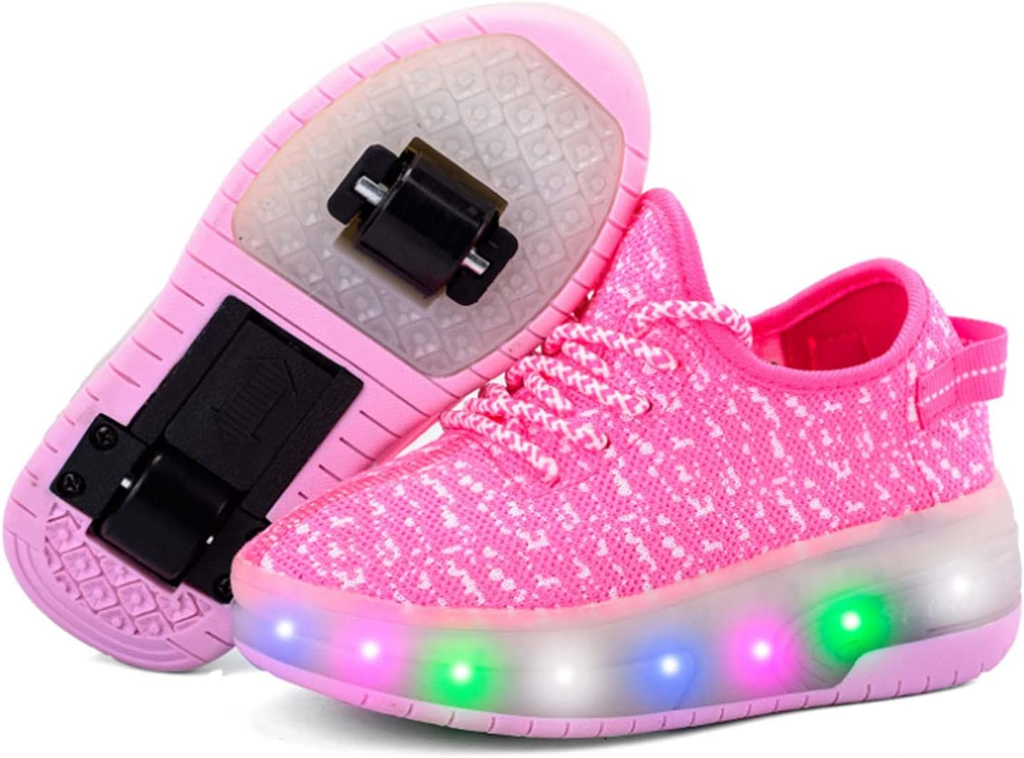 Unisex 7 Colors Changing LED Roller Skate Shoes with 2 Wheels Inline Automatic Retractable Technical Skateboarding Shoe Sport Outdoor Cross Trainer Vibration Flashing Gymnastic Sneakers