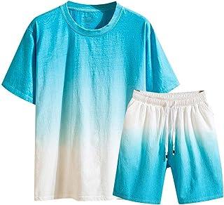 F_Gotal Men's Cotton Linen Gradient Sport Casual Two Pieces Outfit Crewneck Shirt& Shorts Jumpsuit Sets