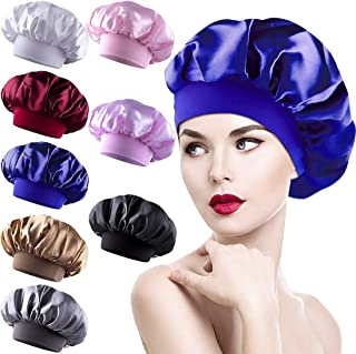 8 Pieces Sleep Caps Women Satin Bonnets Sleeping Hair Loss Cap Salon Night Cap for Women, 8 Colours Elastic Women Stain Ni...