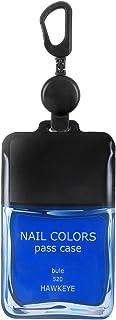 ホークアイ 【のびパス】光に反射する パスケース 伸びるリール付き 選べるデザイン (ブルー, ネイルボトル)