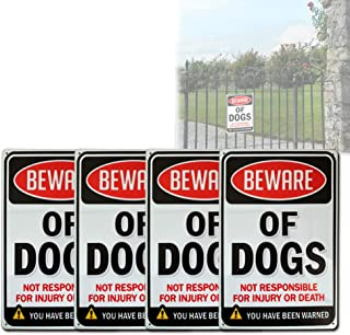 """Beware of Dogs Warning Sign - 12"""" x 8"""" Careful Doggy Alarm System Security Symbol for Home, Yard, 4 Pcs"""