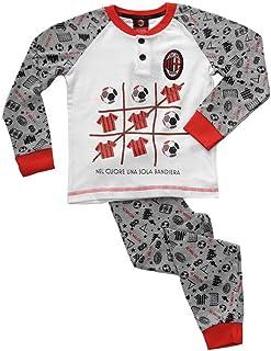 MI16053 AC Milan Pigiama Bambino Mezza Manica in Cotone Prodotto Ufficiale Art