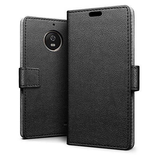 SLEO Hülle für Motorola Moto E4 Plus Hülle,PU lederhülle [Vollständigen Schutz] [Kreditkartenfach] Flip Brieftasche Schutzhülle im Bookstyle für Motorola Moto E4 Plus- Schwarz