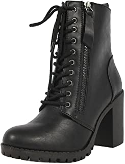 SODA Women's Malia Faux Leather Lace Up Chunky Ankle Boot