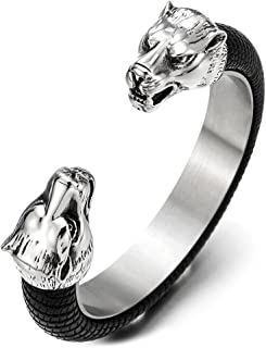 Mens Steel Wolf Head Open Cuff Bangle Bracelet Inlaid with Black Leather, Elastic Adjustable