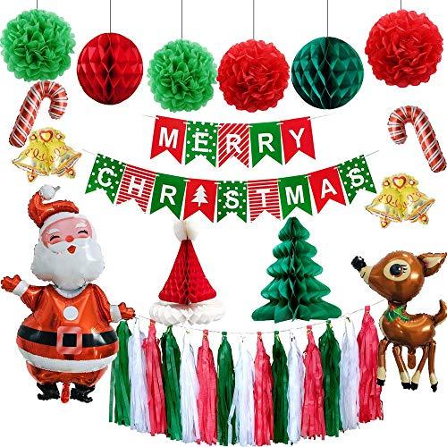 KungfuMall 1 Conjunto Papel Decoraciones de navidad Feliz Navidad Bandera Globo Navidad Bolas de panal Tejido de borla Papel Pompones Bolas de flores por Navidad Suministros de decoración para fiestas