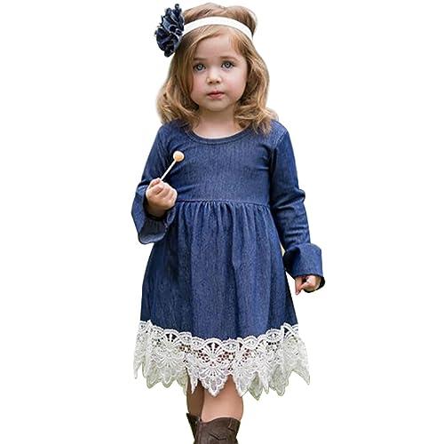 Denim And Lace Dress Amazoncom