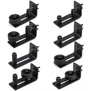 Totalmente ajustable 8 configuraciones diferentes Rodillos de guía de piso de la puerta de granero para todas las puertas de granero Negro: Amazon.es: Bricolaje y herramientas