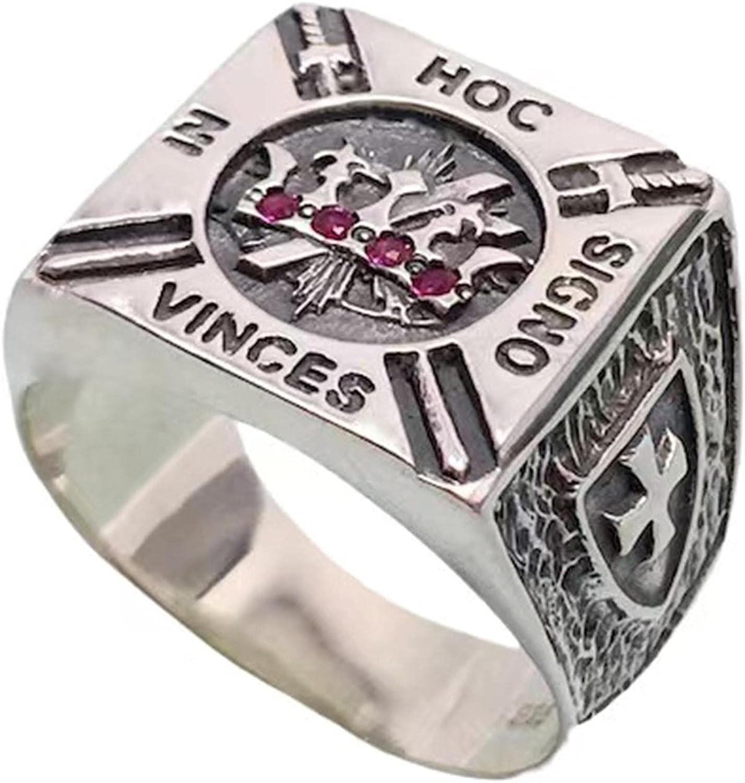 Knights Dedication Templar Ring Stainless Steel Masonic With Handmad Stones Bombing new work