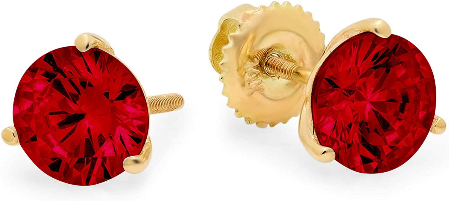 Clara Pucci 1.6 ct Brilliant Round Cut Solitaire VVS1 Flawless Natural Red Garnet Gemstone Pair of 3 prong Stud Martini Earrings Solid 18K Yellow Gold Screw Back