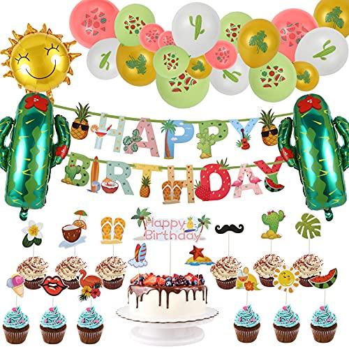 FORMIZON Decoración Tropical Hawaiana de Fiesta, Verano Artículos para Fiestas en La Cumpleaños con Piña Colorida Flamingo Cumpleaños Banner, Globos Tropicales, Globos de Cactus y Banderas de Pastel