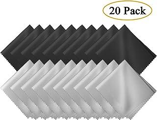 GCOA 20 Piezas Microfibra Paños de Limpieza para la Limpieza de Gafas, Lentes de Camara, iPad, Tabletas, teléfonos móviles, LCD Pantallas y Otras Superficies Delicadas(10 Negro+ 10 Gris)