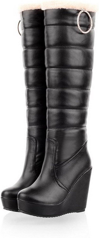 WeenFashion Womens Closed Round Toe High Heel Wedge Platform PU Soft Material Solid Boots, Black, 5 B(M) US