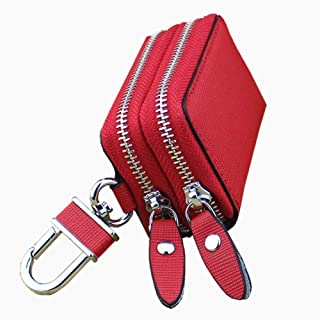 Women's Wallet Cross-Stitched Leather Key Case Popular Double-Layer Zipper Car Key Case (Color : Red, Size : S)