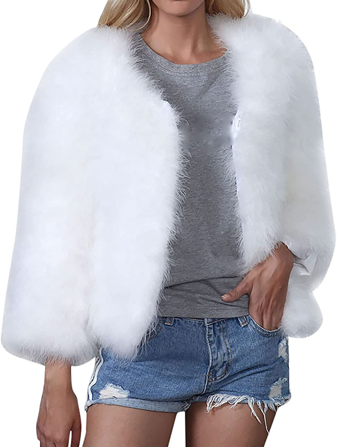 Womens Fashion Solid Color Warm Faux Coat Jacket Winter Soft Thick Plush Outerwear Cardigan Plus Size Tunic