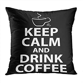 Benxii Throw Pillow Cover Keep Calm Drink Coffee Concept Morning Motivation Home Durable Soft Decorative Polyester Pillowcase Square Cushion Couch for Sofa 18x18 Inches