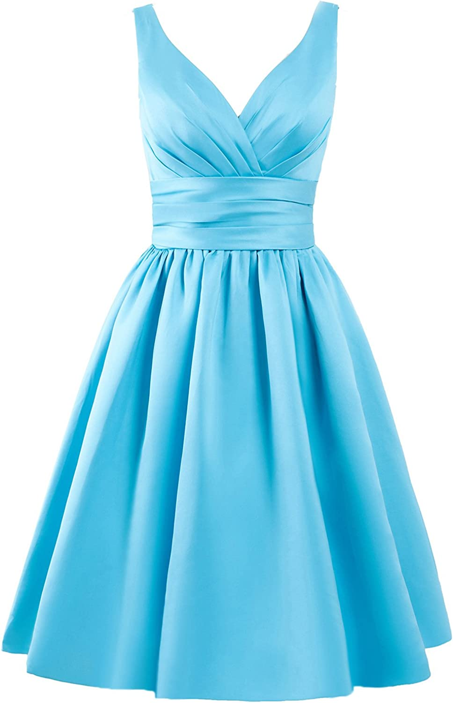 JAEDEN Bridesmaid Dress Short Prom Dresses Gown Satin Evening Party Dress V Neck Bridesmaid Dresses