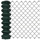 [pro.tec] Malla de alambre verde galvanizado (80cm x 25m) Valla de tela metálica soldada - cerca de alambre