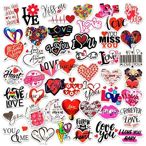 Valentine Stickers, 50-Piece Valentine's Day Stickers, Assorted Design Scrapbook Love Stickers for Kids