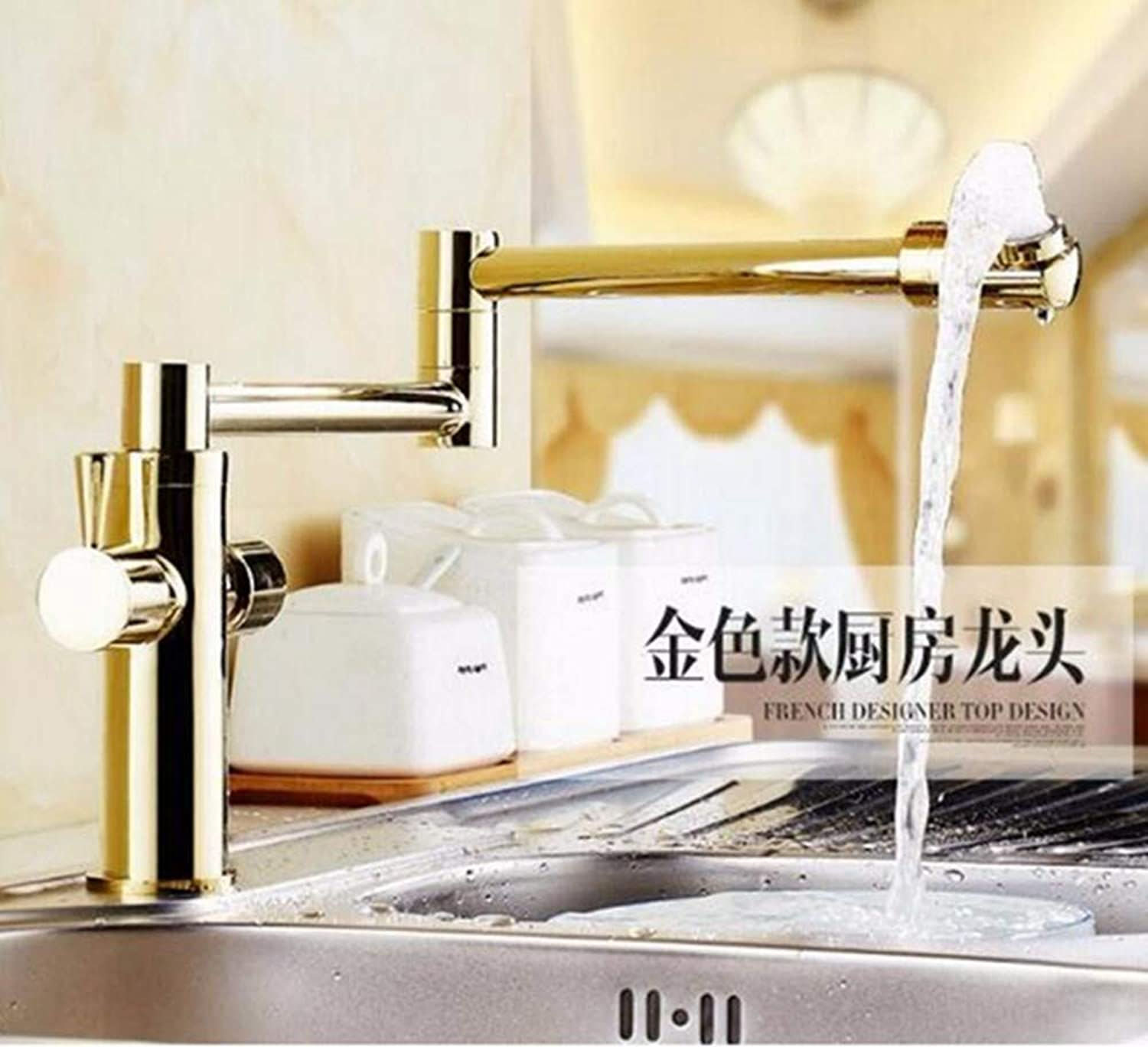 FZHLR Fashion Europe Style Total Brass Antique Brushed Kitchen Faucet Swivel Kitchen Mixer Tap,Sink Tap,Foldable Kitchen Tap 4 color,golden