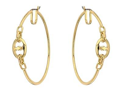 Kate Spade New York Duo Link Large Hoops Earrings (Gold) Earring