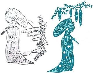 Fogun Antiquité beauté avec Parapluie Matériel Dies de decoupe Scrapbooking, DIY Album de Scrapbooking Outil de Gaufrage D...