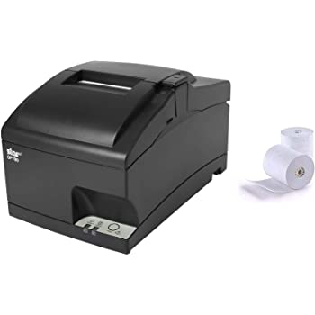 Star Micronics SP742ME Ethernet Receipt Printer, Compatible with Square and Clover, Impact, Auto Cutter, Power Supply and Cable Included and 2 Rolls of Epsilont Paper