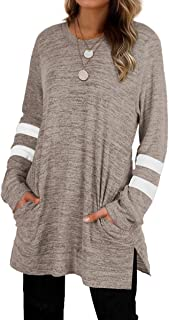 Womens Casual Sweatshirts Long Sleeve Shirts Oversized With Pocket Tunic Tops S-2XL