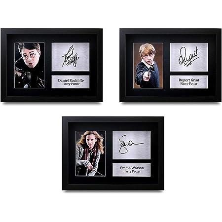 HWC Trading FR All 3 x Harry Potter Firmado para Regalo con autógrafo Impreso A4 Daniel Radcliffe Emma Watson Rupert Grint Gifts impresión de Foto ...