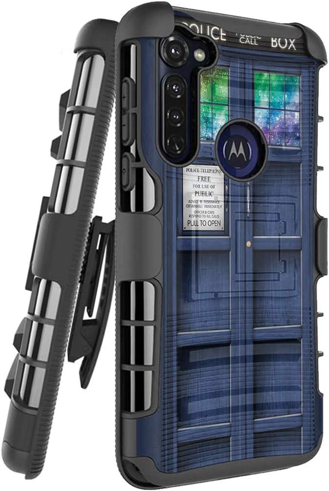 Ohiya Holster Case Compatible with Motorola Moto G Stylus 2020 [Military Grade Shockproof Heavy Duty Kickstand Belt Clip Black Case Phone Cover] for Motorola XT2043-4 2020 (Blue Tardis Phone Booth)