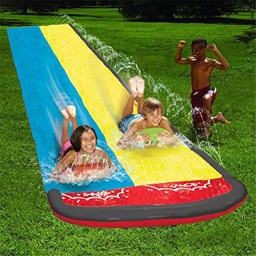 Double Slip and slide-15.74 Feet N Double Water Slide Lawn Water Slides,Slip and Slide,Inflatable Crash Pad with Water Spray Device for Water Party Outdoor Toy Water Sports Super Waterslide for Kids