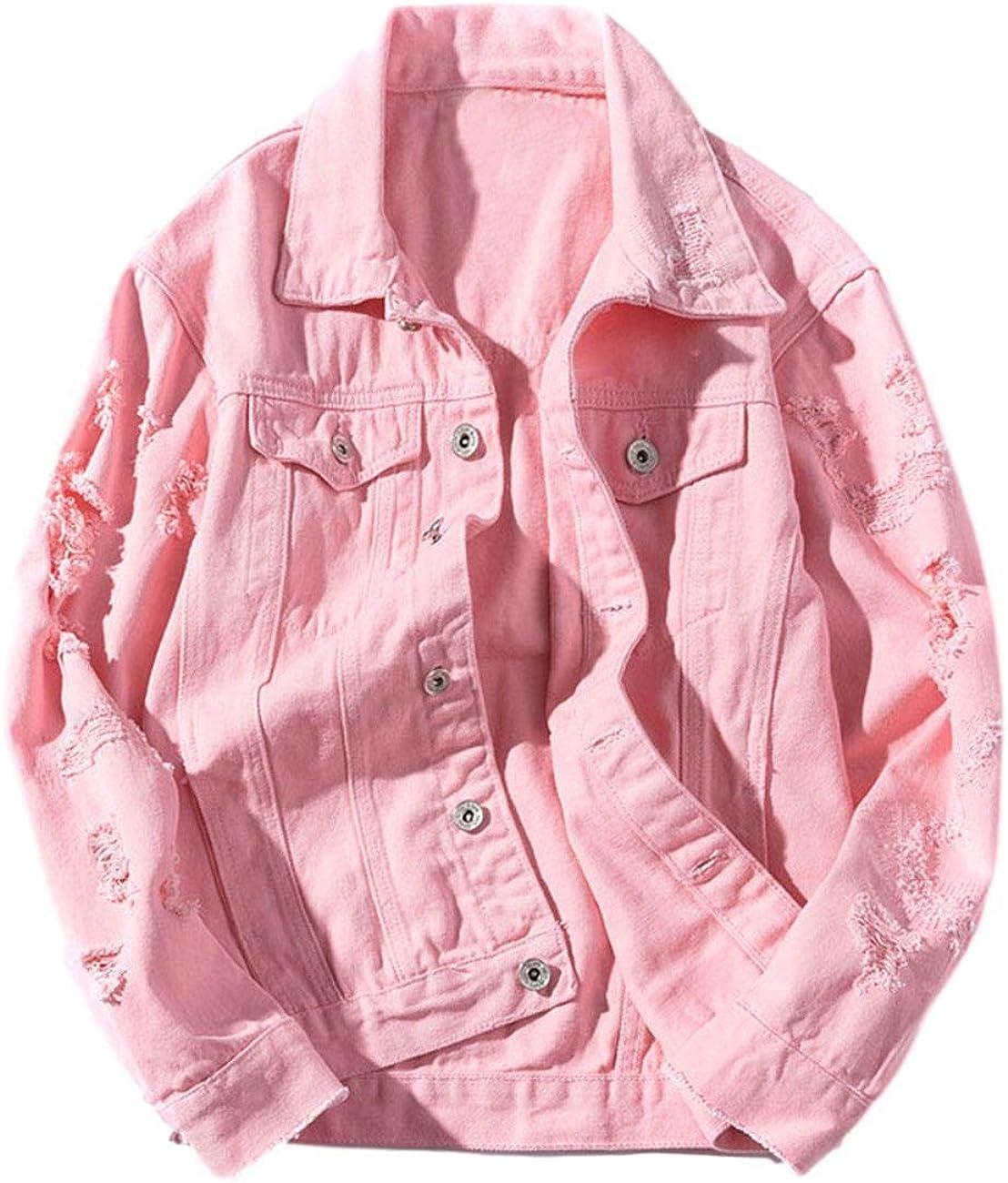 ZLSLZ Womens Cute Solid Distressed Ripped Long Sleeve Denim Jean Jacket Coat Plus Size