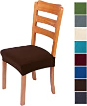 smiry Stretch Jacquard Chair Seat Covers for Dining Room, Removable Washable Anti-Dust Chair Seat Protector Slipcovers - Set of 4, Chocolate