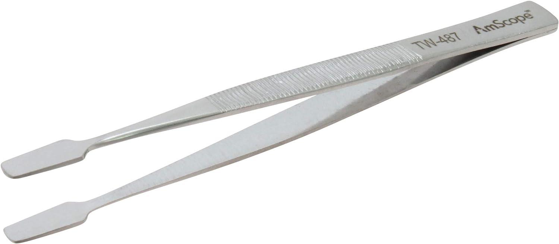 Sacramento Mall AmScope - 4 3 8 in. Tip 1 year warranty Smooth Spade General Tweezers Purpose