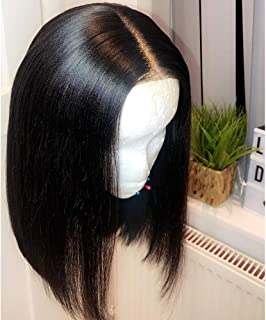 Maxine Glueless Bob Wig Brazilian Straight Short Lace Front Human Hair Wigs For Black Women Pre Plucked With Baby Hair Remy Hair 10 inch