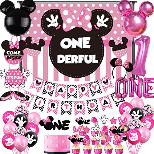 Minnie 1st Birthday Party Supplies Decorations, Minnie Onederful Backdrop, Minnie Happy Birthday Banner Mouse One Balloons, Minnie First Birthday Cake Cupcake Topper, Minnie Welcome Sign Door Hanger