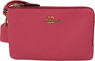 Coach Pebbled Leather Double Corner Zip Wristlet Confetti Pink Style No 6649