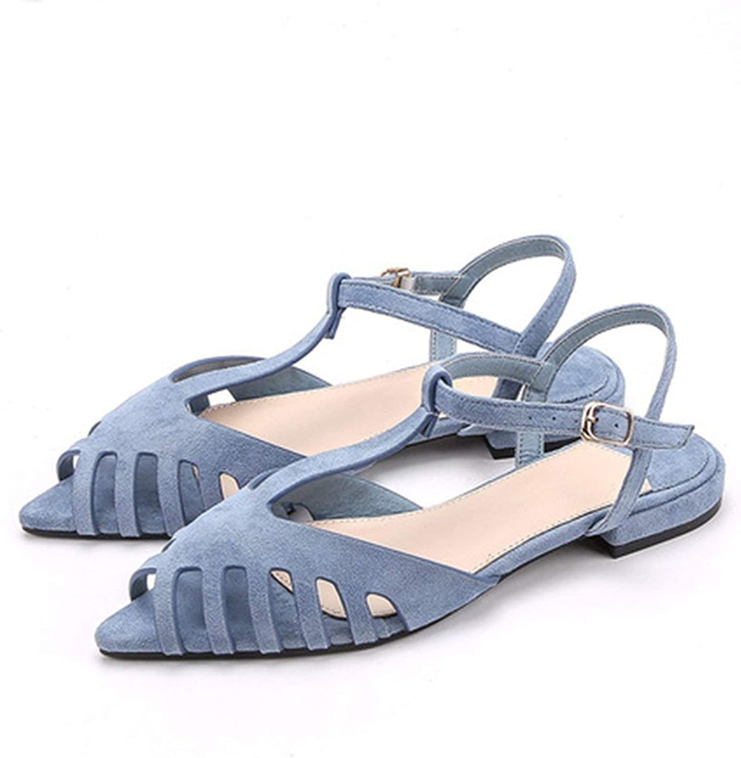 Cuts-Out Flat Sandals Women Pointed Toe Summer Beach Sandals Women Soft Summer Sandals